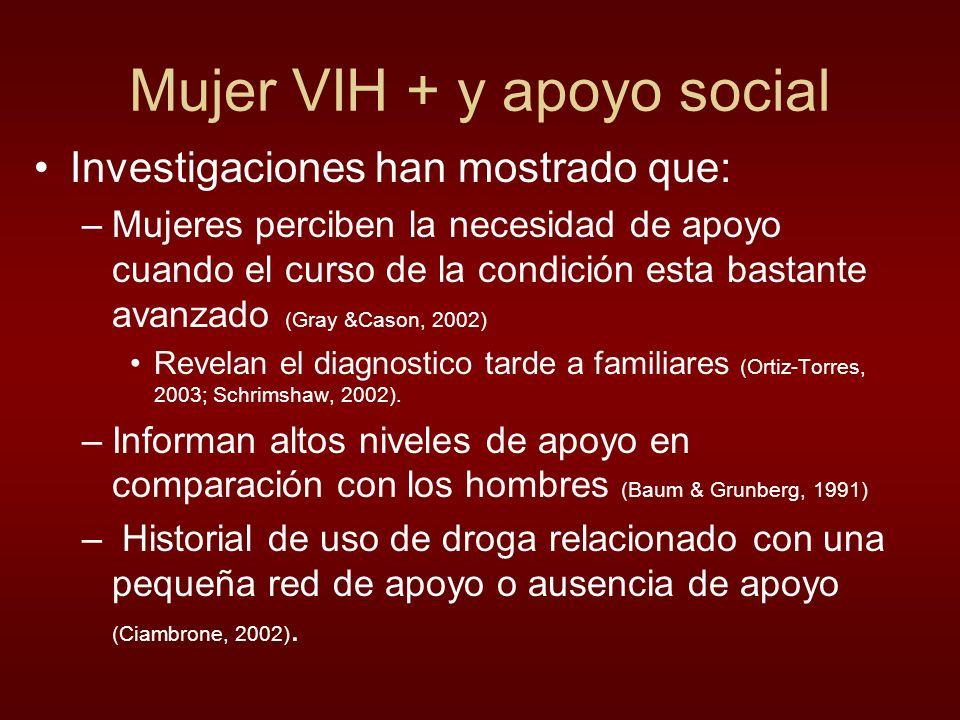 Mujer VIH + y apoyo social