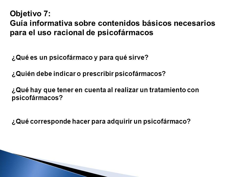Objetivo 7: Guía informativa sobre contenidos básicos necesarios para el uso racional de psicofármacos.
