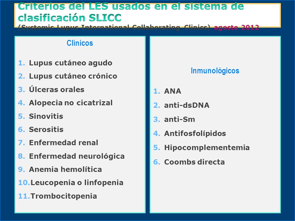Criterios del LES usados en el sistema de clasificación SLICC (Systemic Lupus International Collaborating Clinics) agosto 2012