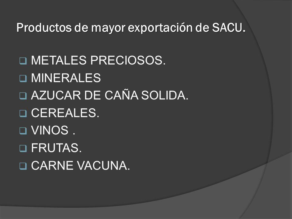 Productos de mayor exportación de SACU.