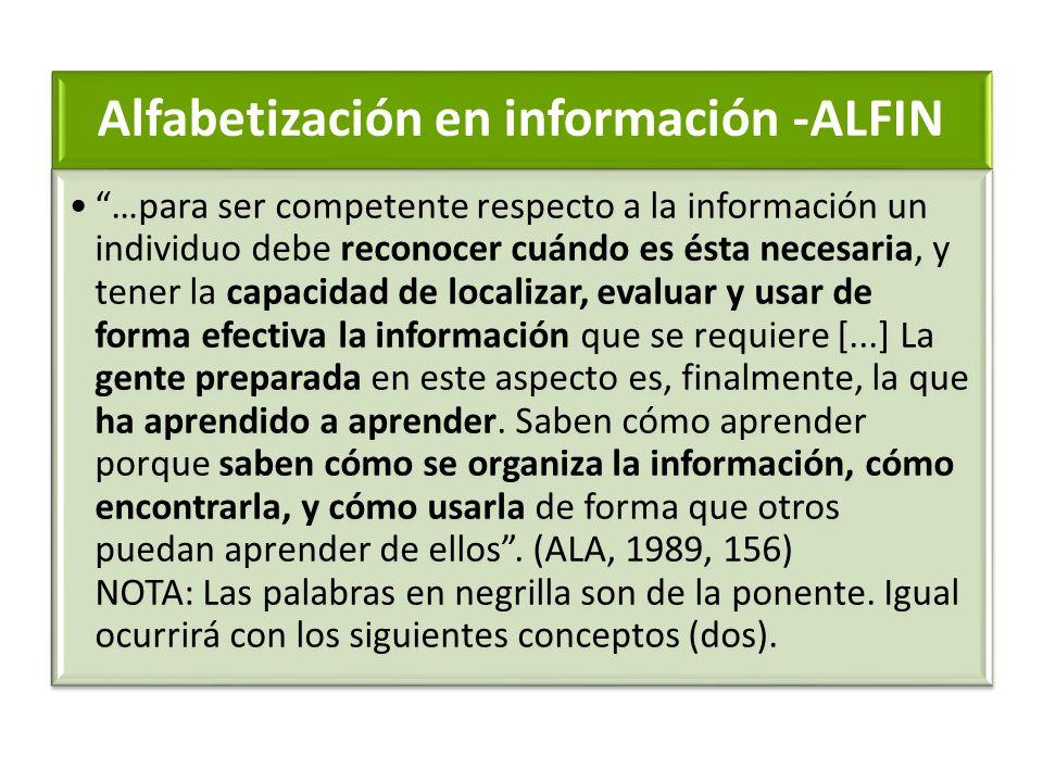 Alfabetización en información -ALFIN