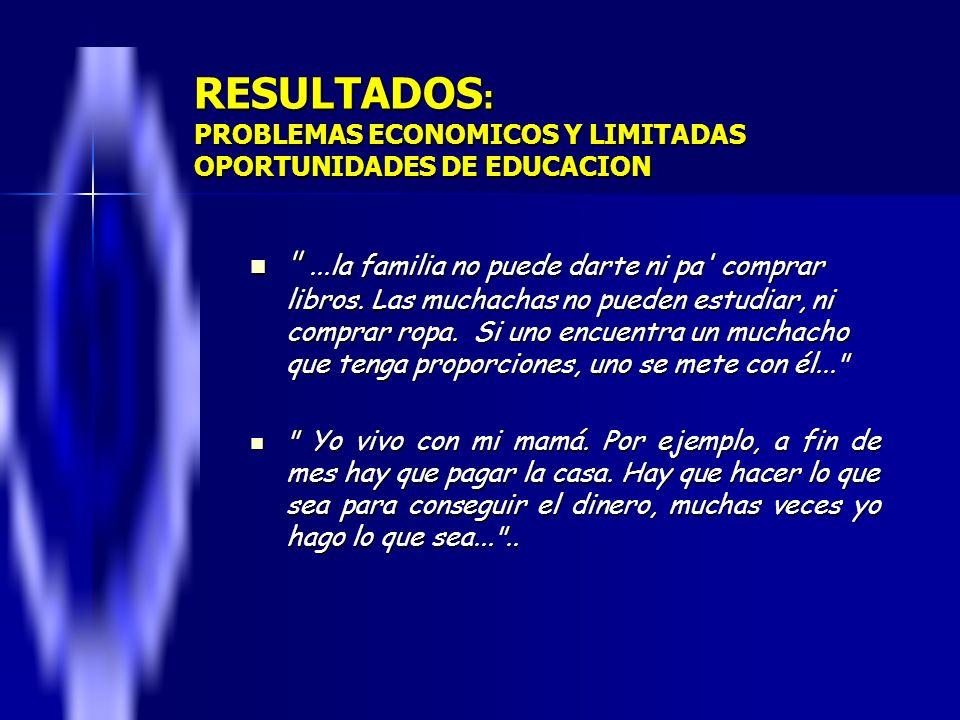 RESULTADOS: PROBLEMAS ECONOMICOS Y LIMITADAS OPORTUNIDADES DE EDUCACION