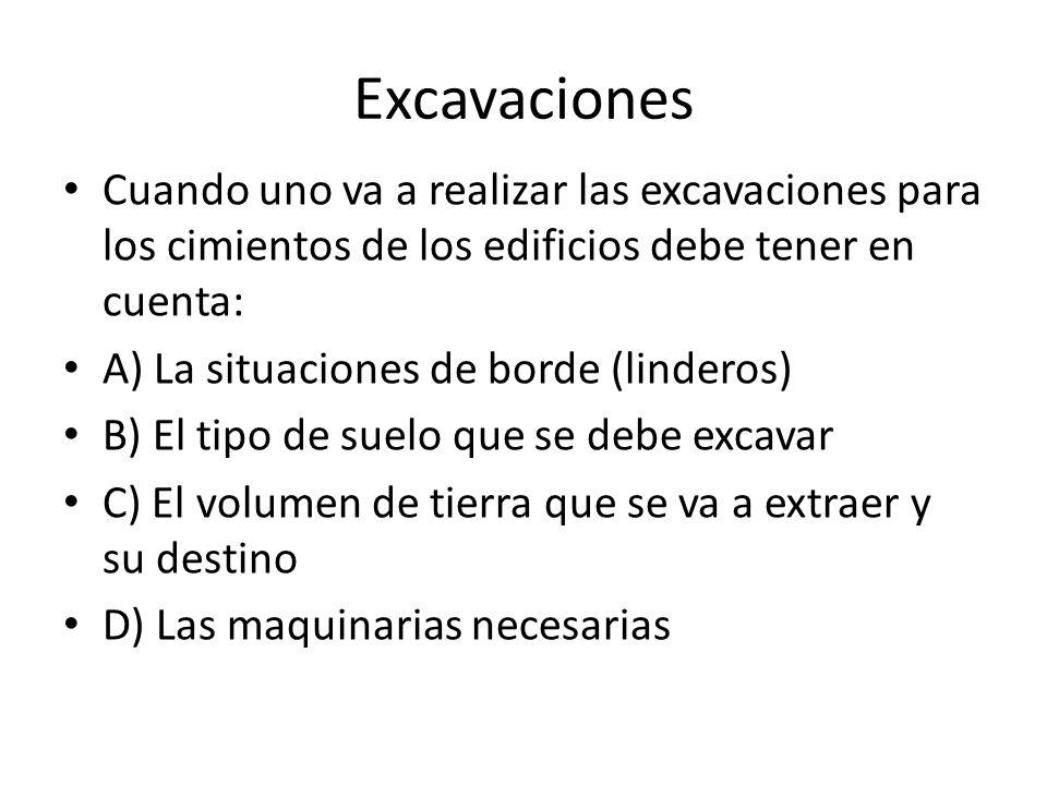 Excavaciones Cuando uno va a realizar las excavaciones para los cimientos de los edificios debe tener en cuenta: