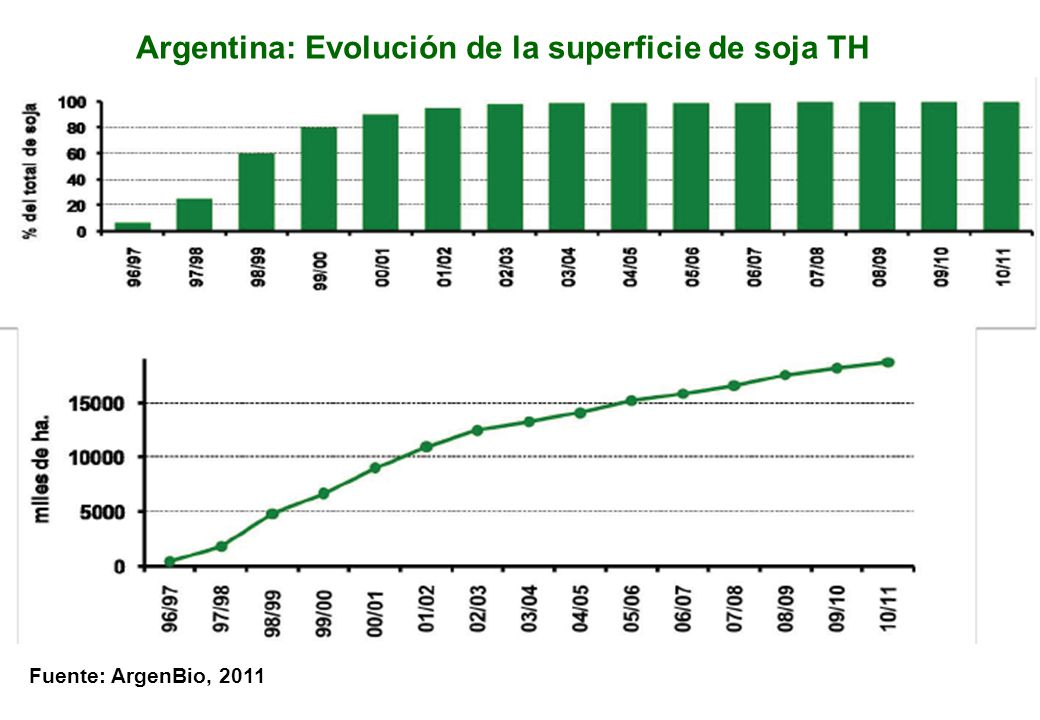 Argentina: Evolución de la superficie de soja TH