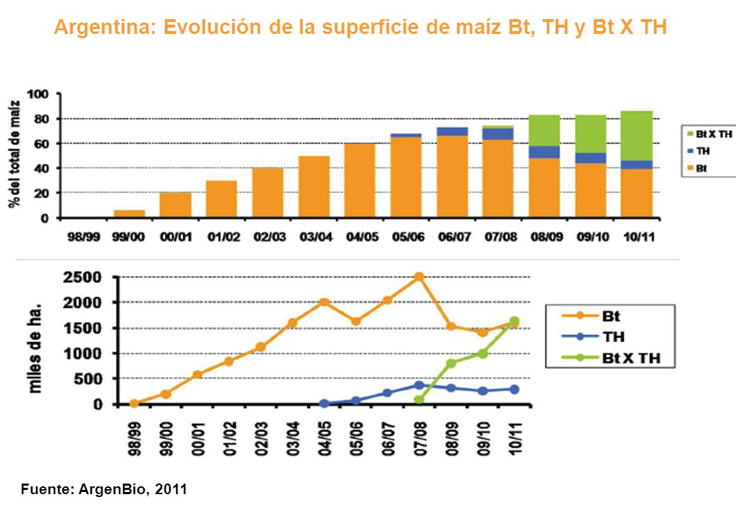 Argentina: Evolución de la superficie de maíz Bt, TH y Bt X TH