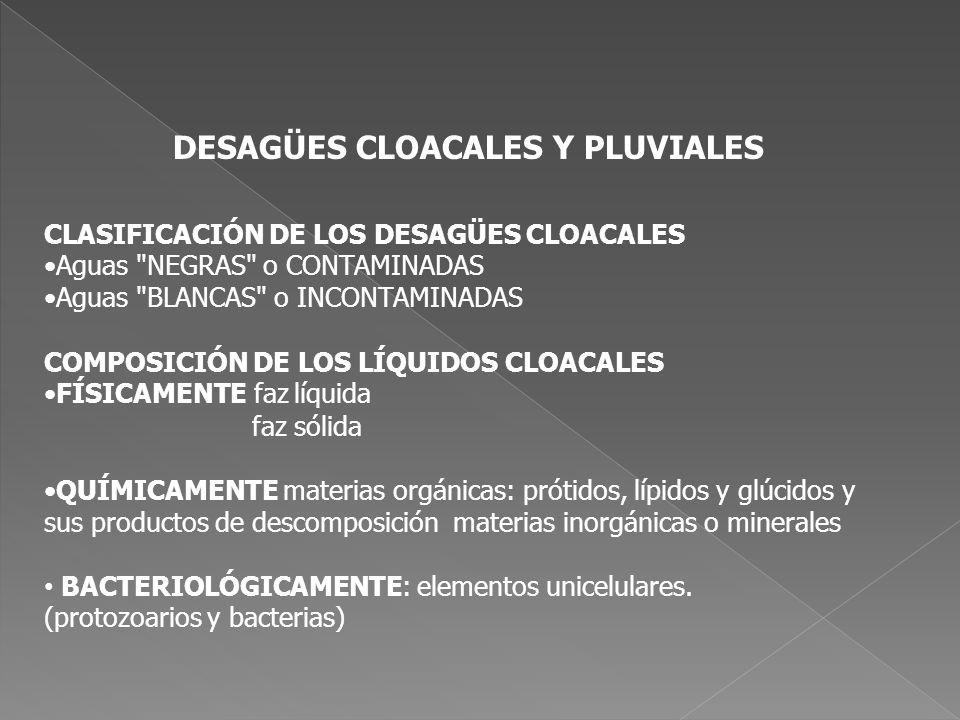 DESAGÜES CLOACALES Y PLUVIALES