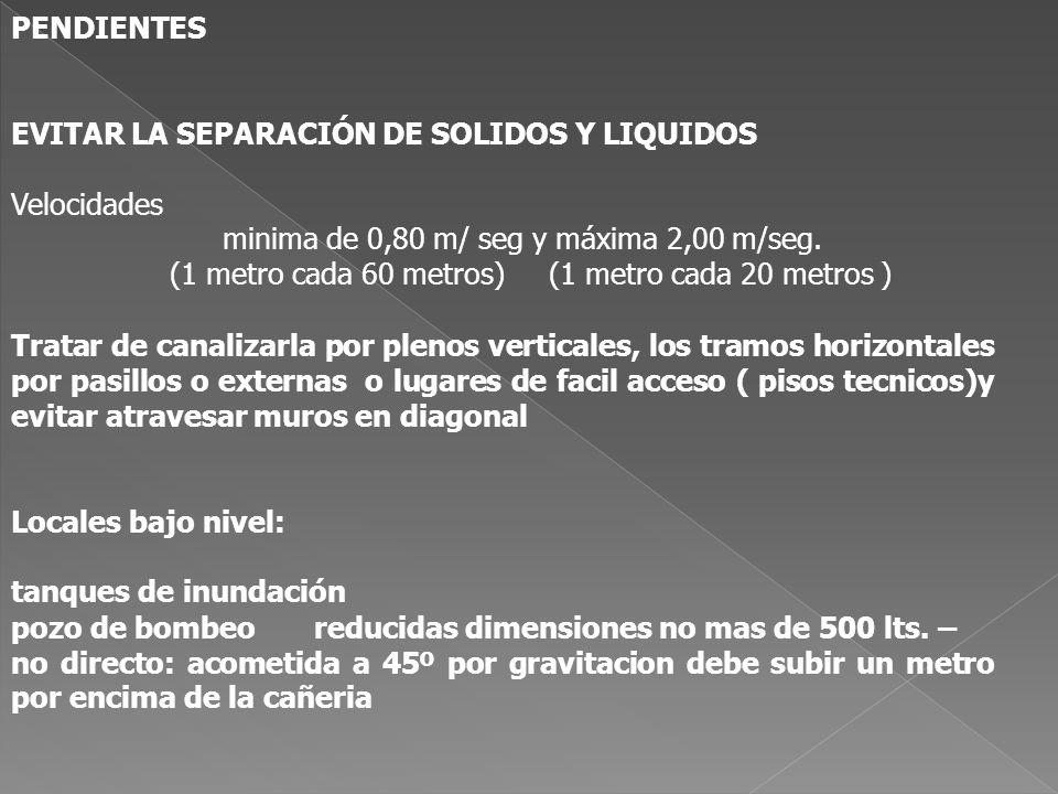 PENDIENTES EVITAR LA SEPARACIÓN DE SOLIDOS Y LIQUIDOS. Velocidades. minima de 0,80 m/ seg y máxima 2,00 m/seg.