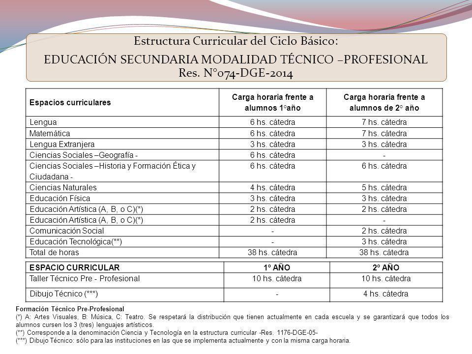 Estructura Curricular del Ciclo Básico:
