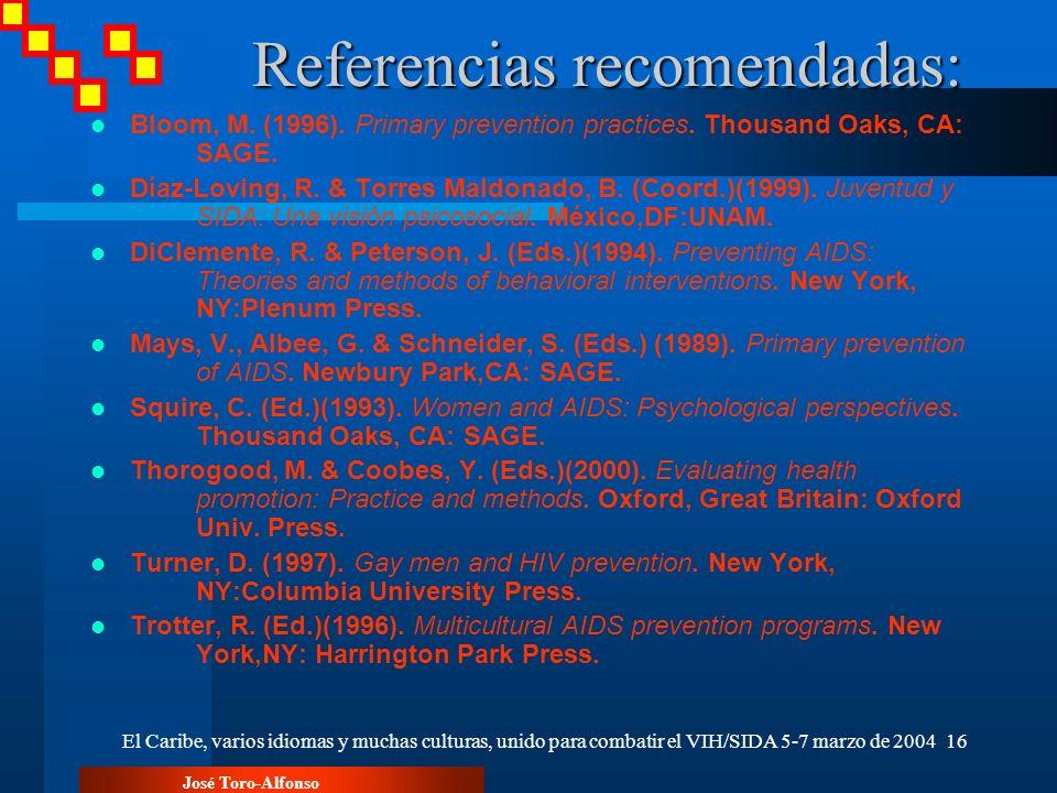 Referencias recomendadas: