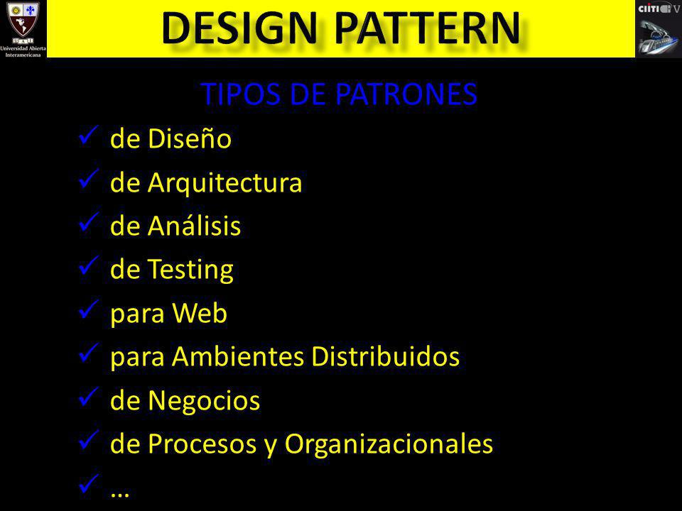 Design pattern TIPOS DE PATRONES de Diseño de Arquitectura de Análisis