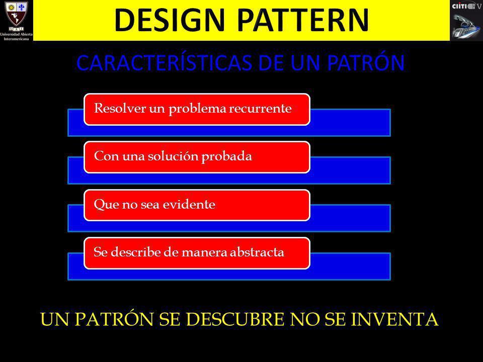 CARACTERÍSTICAS DE UN PATRÓN