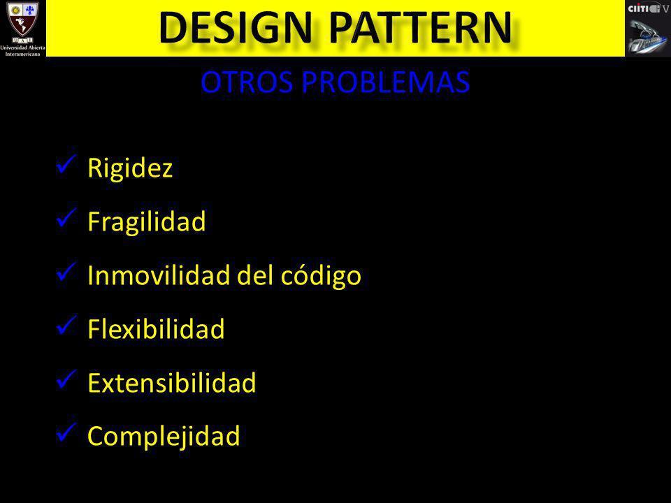 Design pattern OTROS PROBLEMAS Rigidez Fragilidad