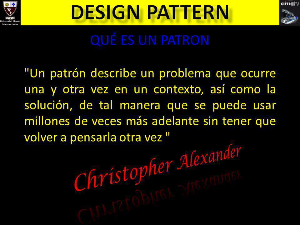 Design pattern Christopher Alexander QUÉ ES UN PATRON