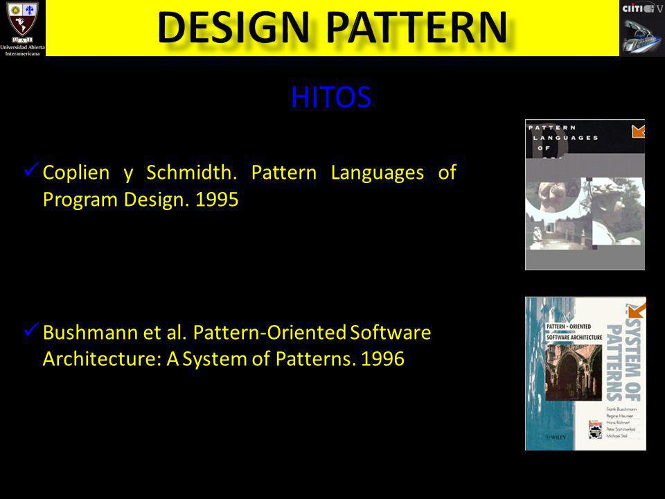 Design pattern HITOS. Coplien y Schmidth. Pattern Languages of Program Design. 1995.
