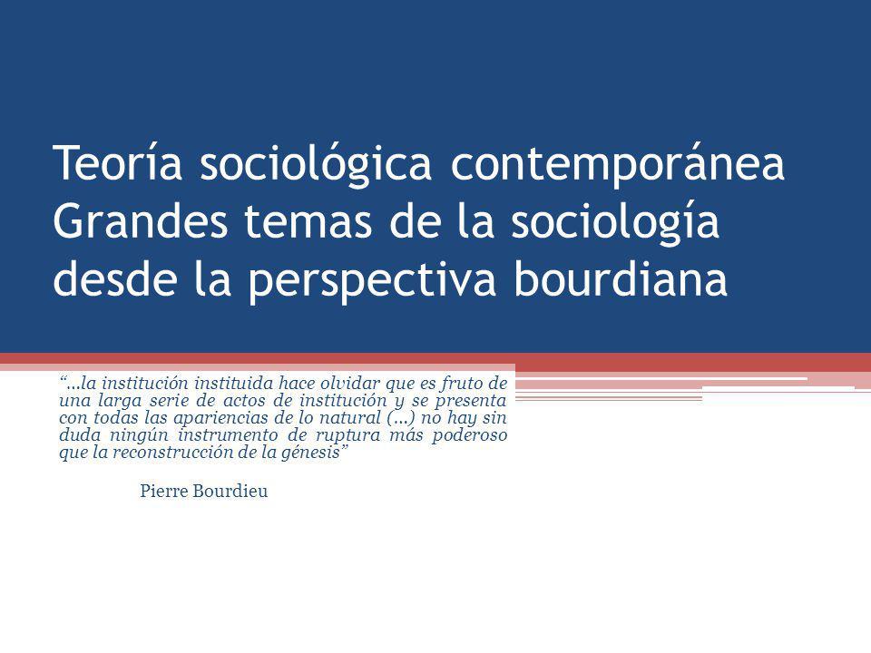 Teoría sociológica contemporánea Grandes temas de la sociología desde la perspectiva bourdiana