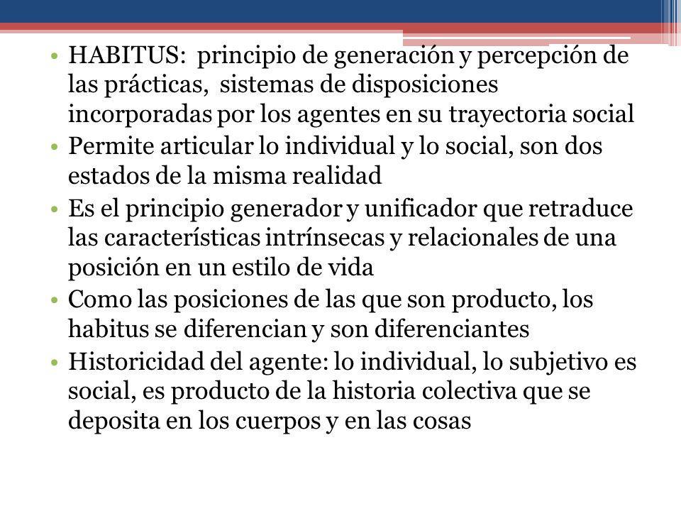 HABITUS: principio de generación y percepción de las prácticas, sistemas de disposiciones incorporadas por los agentes en su trayectoria social