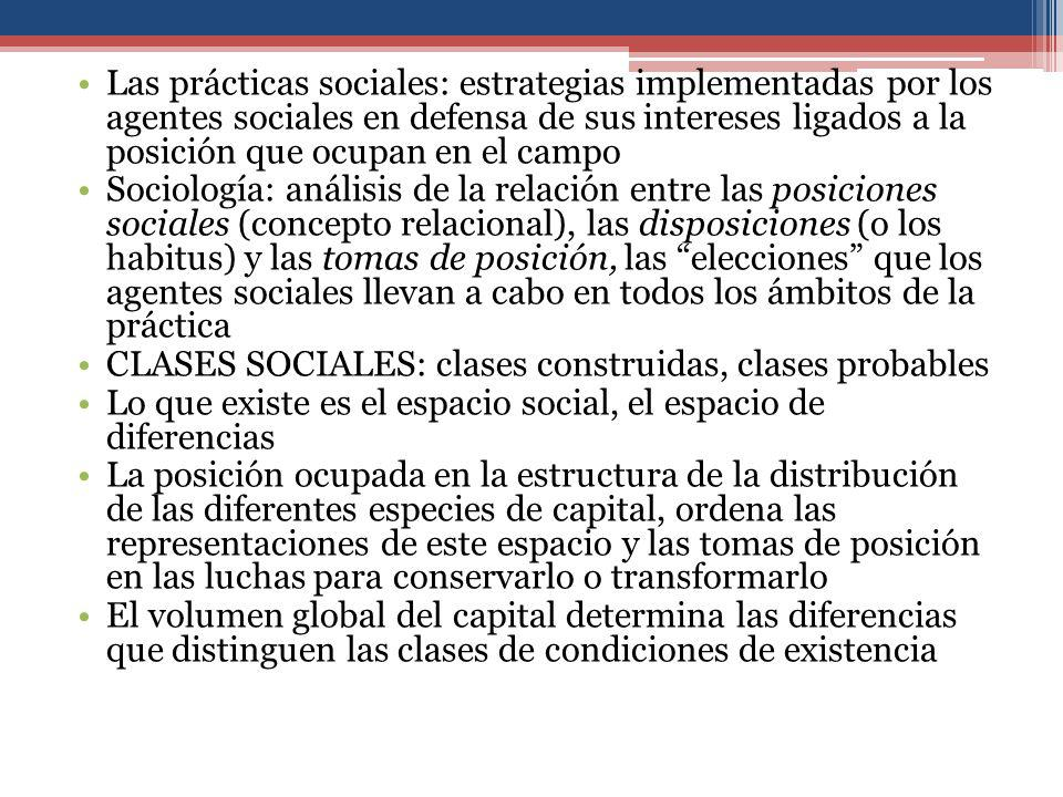 Las prácticas sociales: estrategias implementadas por los agentes sociales en defensa de sus intereses ligados a la posición que ocupan en el campo