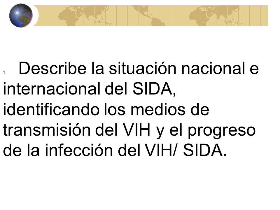 1. Describe la situación nacional e internacional del SIDA, identificando los medios de transmisión del VIH y el progreso de la infección del VIH/ SIDA.