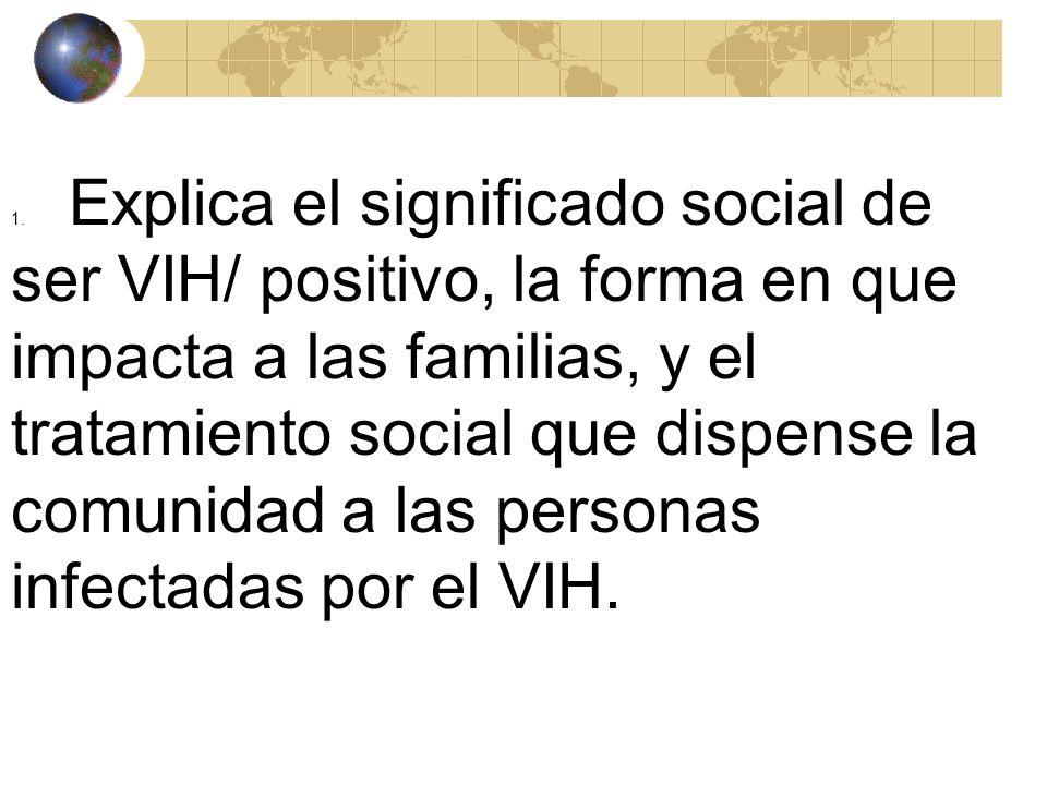 1. Explica el significado social de ser VIH/ positivo, la forma en que impacta a las familias, y el tratamiento social que dispense la comunidad a las personas infectadas por el VIH.