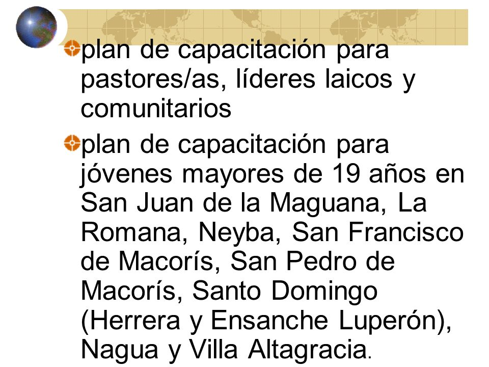plan de capacitación para pastores/as, líderes laicos y comunitarios
