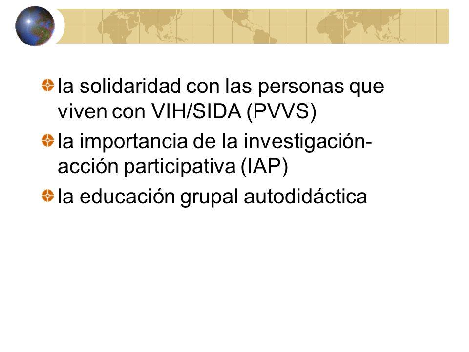 la solidaridad con las personas que viven con VIH/SIDA (PVVS)
