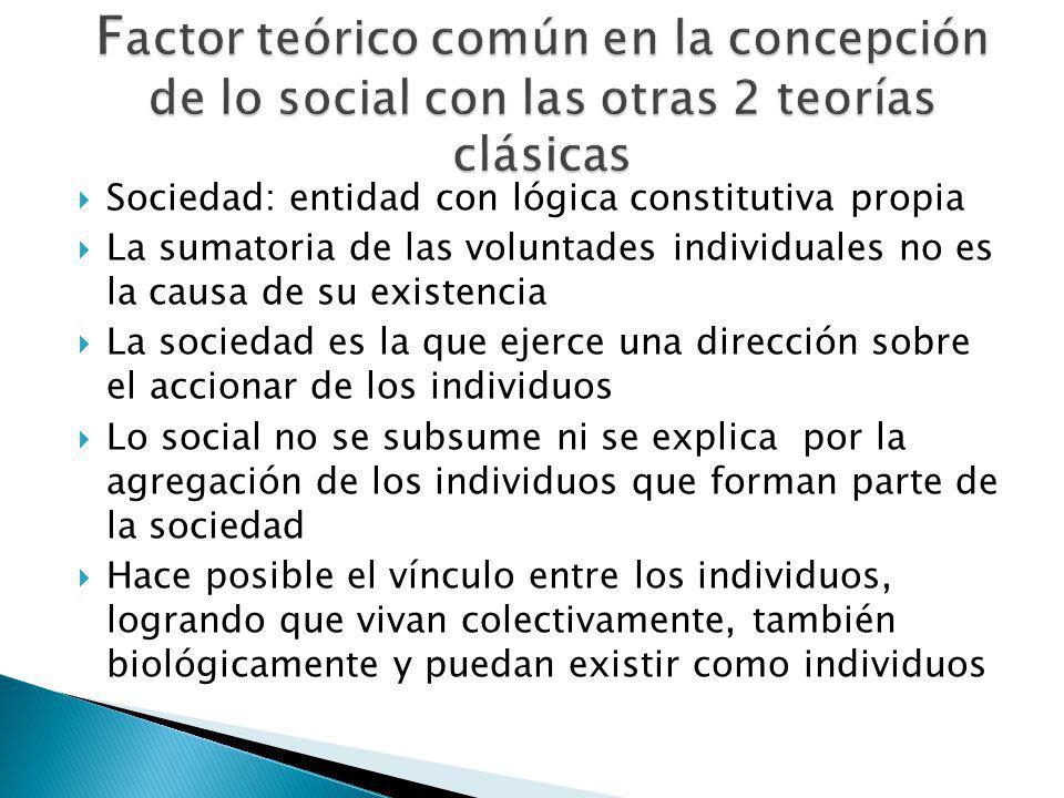 Factor teórico común en la concepción de lo social con las otras 2 teorías clásicas