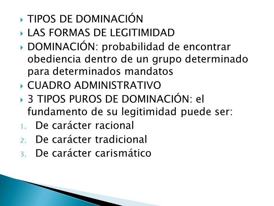 TIPOS DE DOMINACIÓN LAS FORMAS DE LEGITIMIDAD.