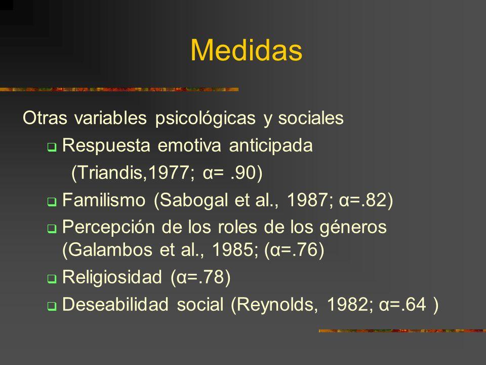 Medidas Otras variables psicológicas y sociales