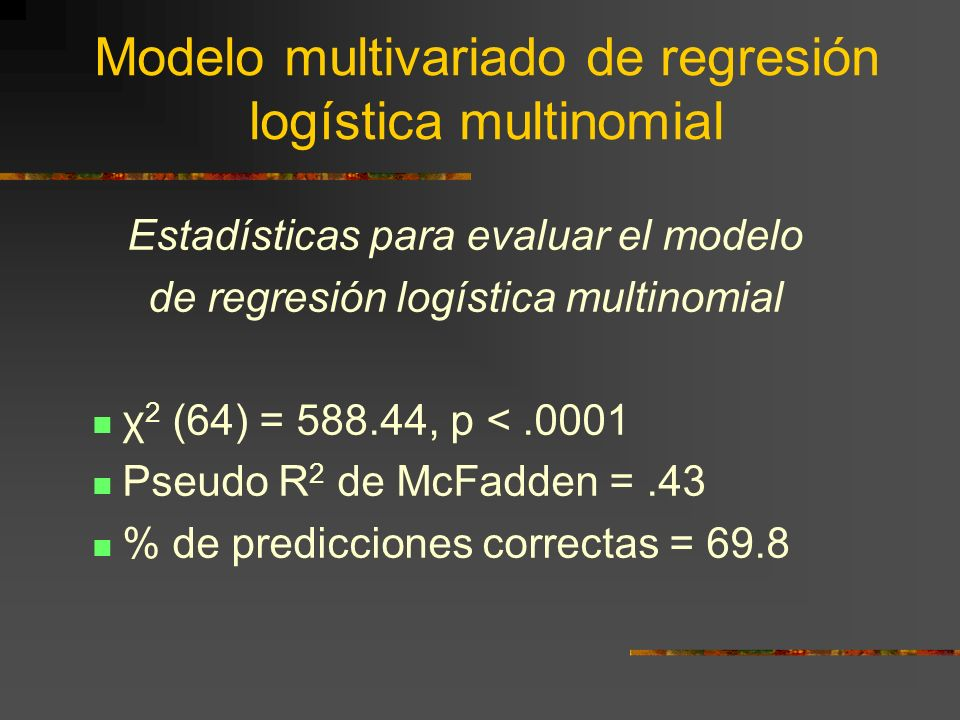 Modelo multivariado de regresión logística multinomial