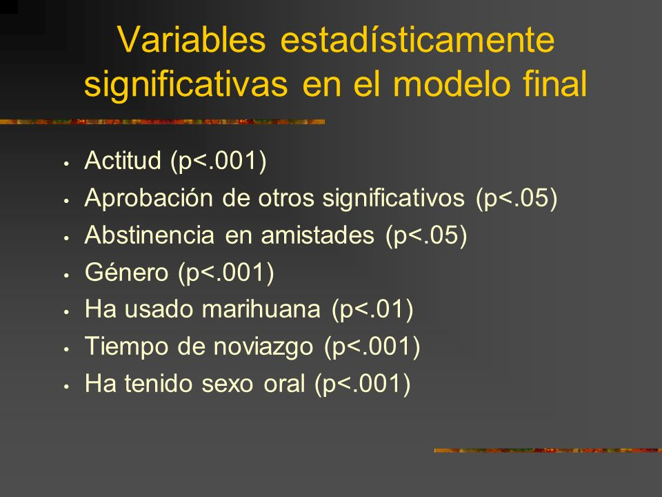 Variables estadísticamente significativas en el modelo final