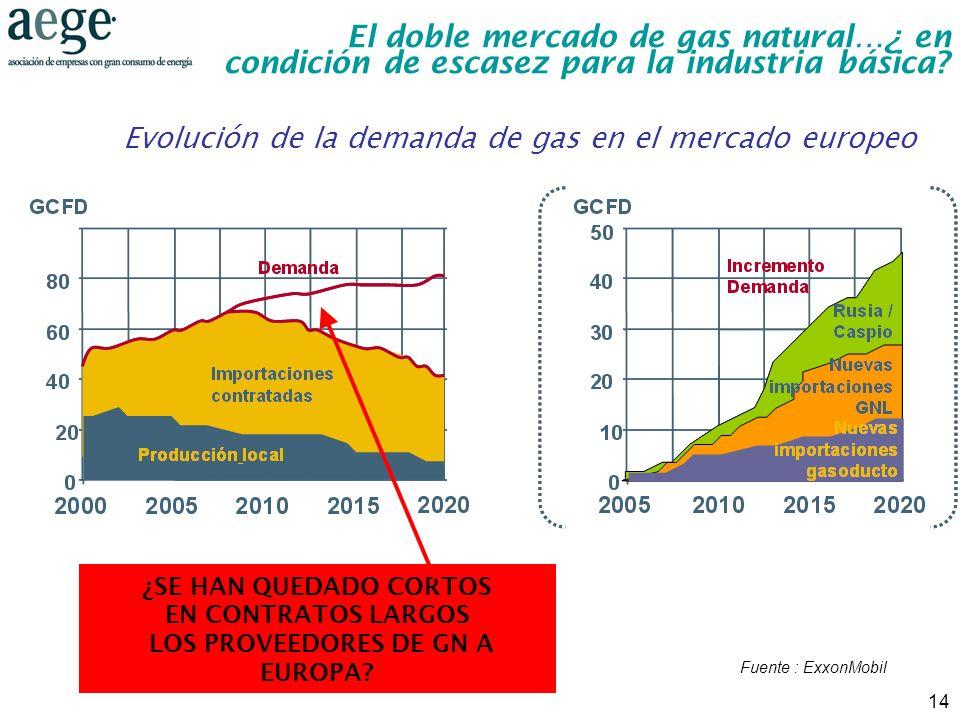 Evolución de la demanda de gas en el mercado europeo