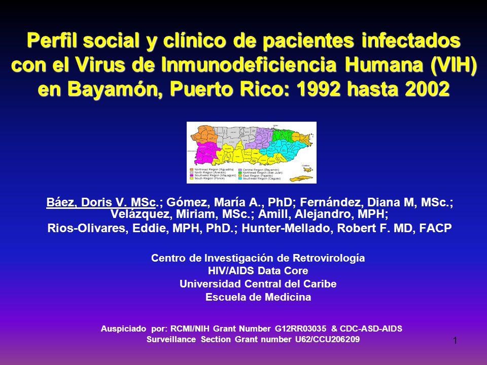 24-mar-17 Perfil social y clínico de pacientes infectados con el Virus de Inmunodeficiencia Humana (VIH) en Bayamón, Puerto Rico: 1992 hasta 2002.