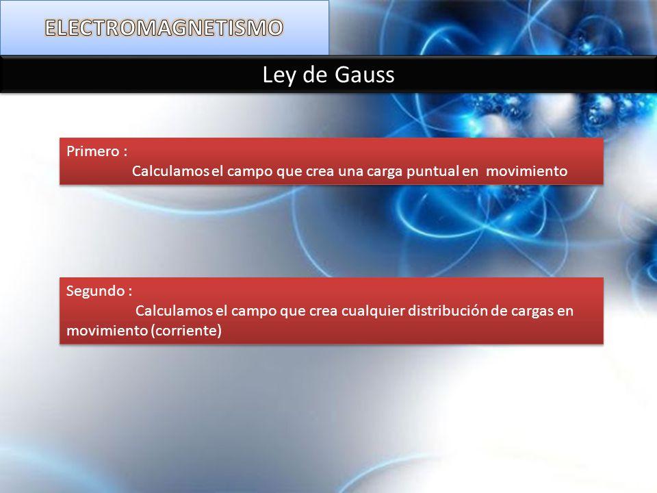 Ley de Gauss ELECTROMAGNETISMO Primero :
