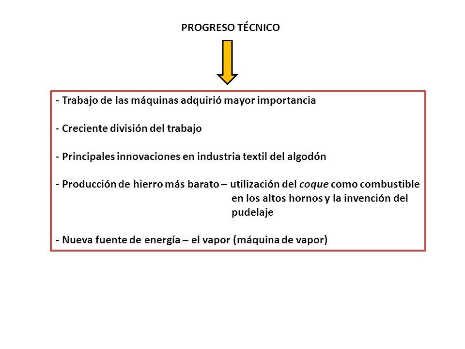 PROGRESO TÉCNICO - Trabajo de las máquinas adquirió mayor importancia. - Creciente división del trabajo.