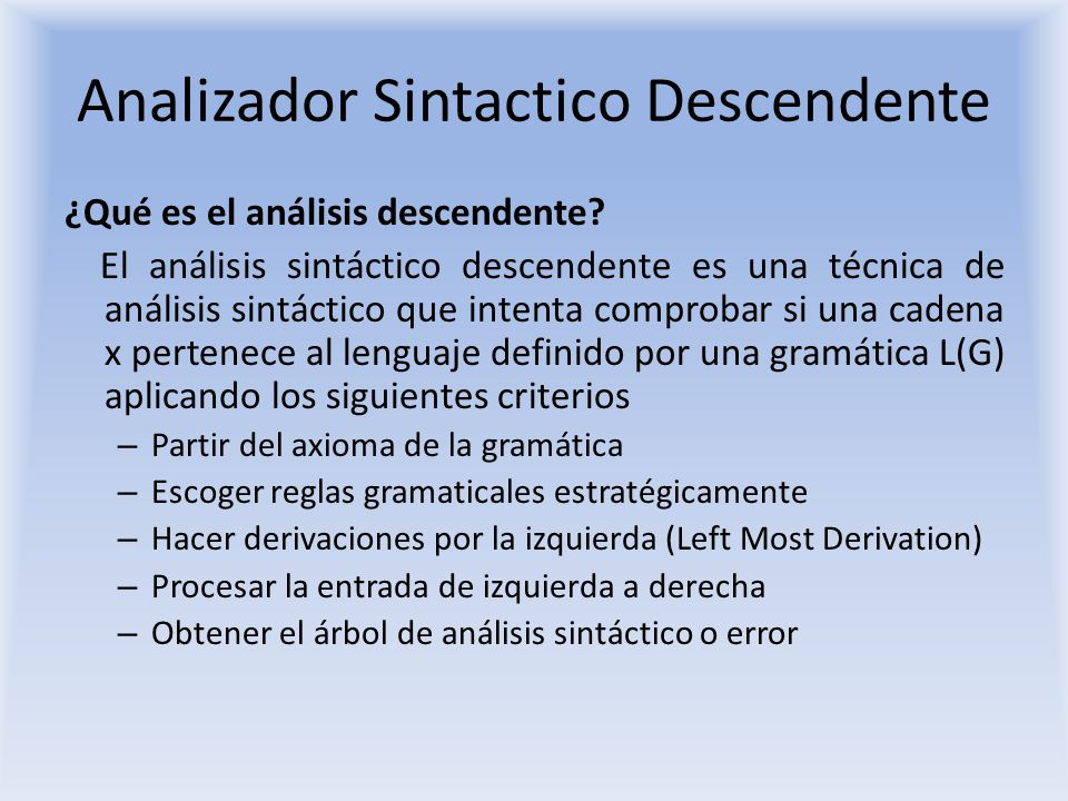 Analizador Sintactico Descendente