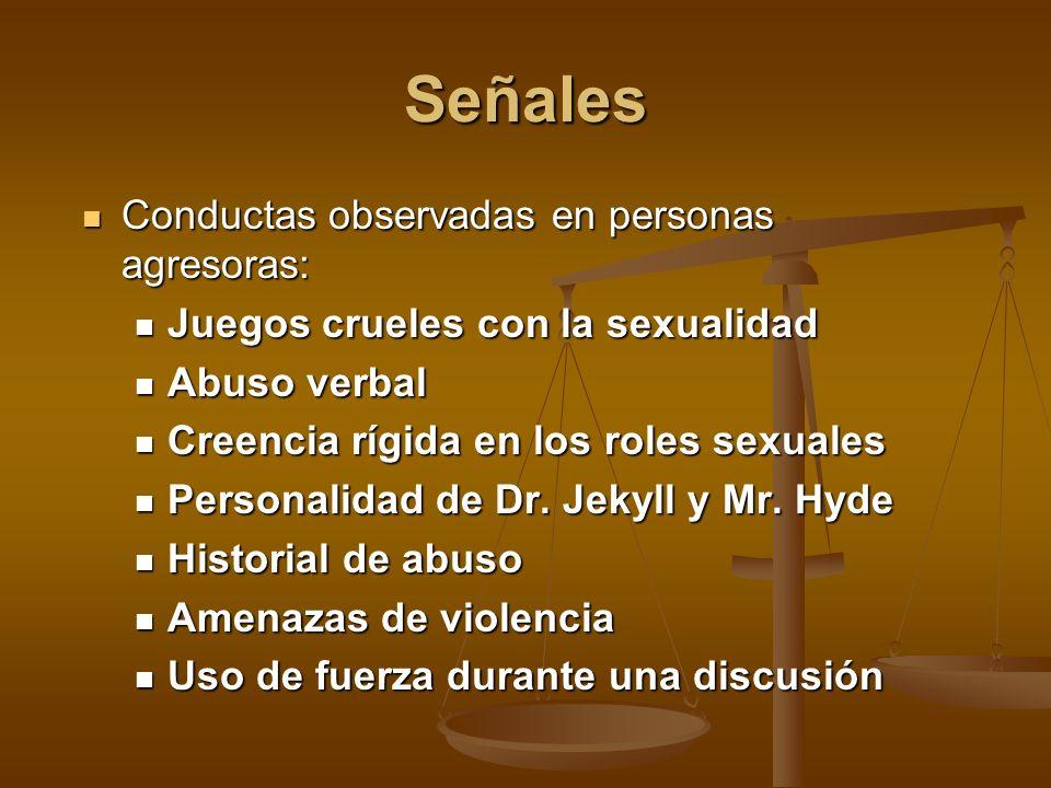 Señales Conductas observadas en personas agresoras: