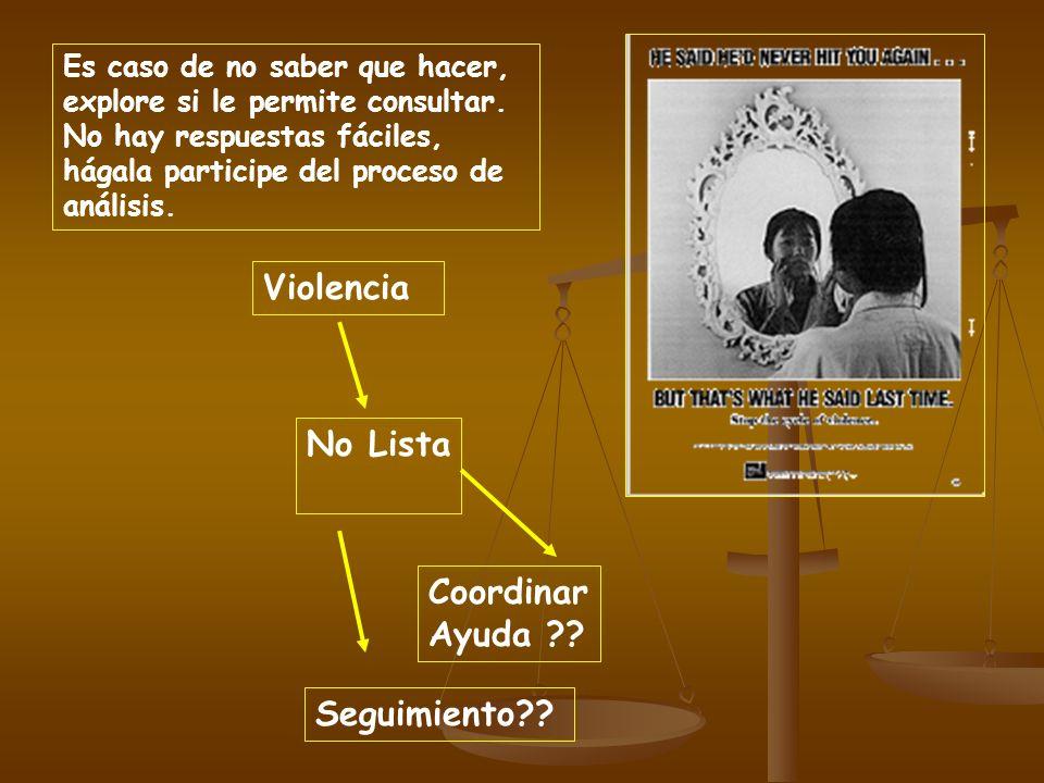 Violencia No Lista Coordinar Ayuda Seguimiento