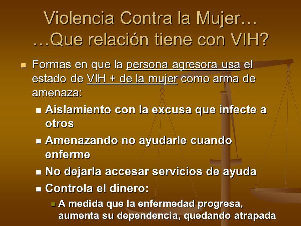 Violencia Contra la Mujer… …Que relación tiene con VIH