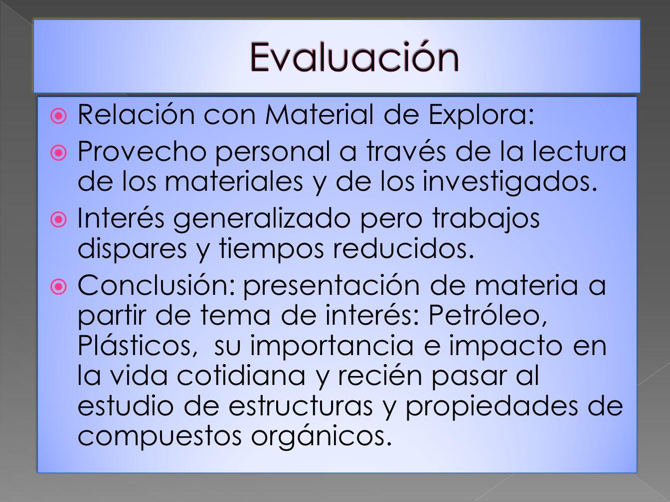 Evaluación Relación con Material de Explora: