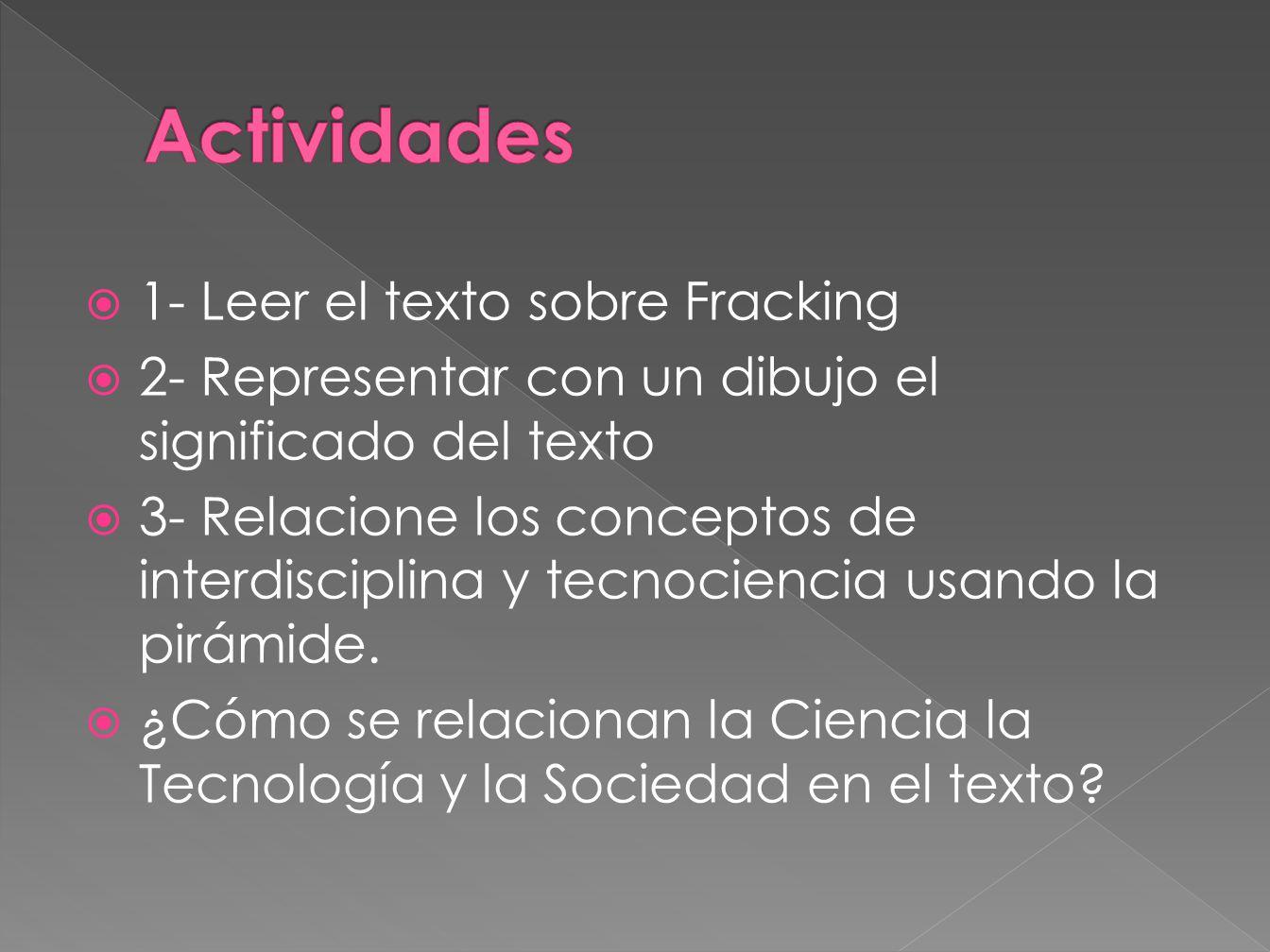 Actividades 1- Leer el texto sobre Fracking