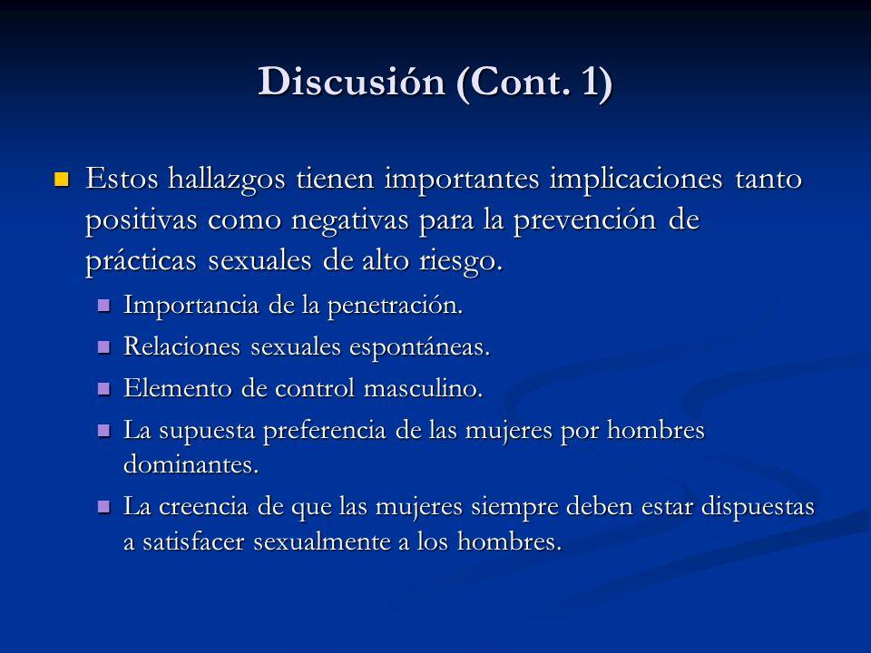 Discusión (Cont. 1)