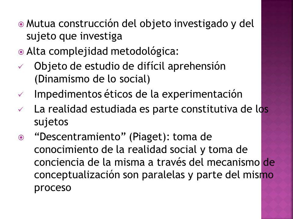 Mutua construcción del objeto investigado y del sujeto que investiga