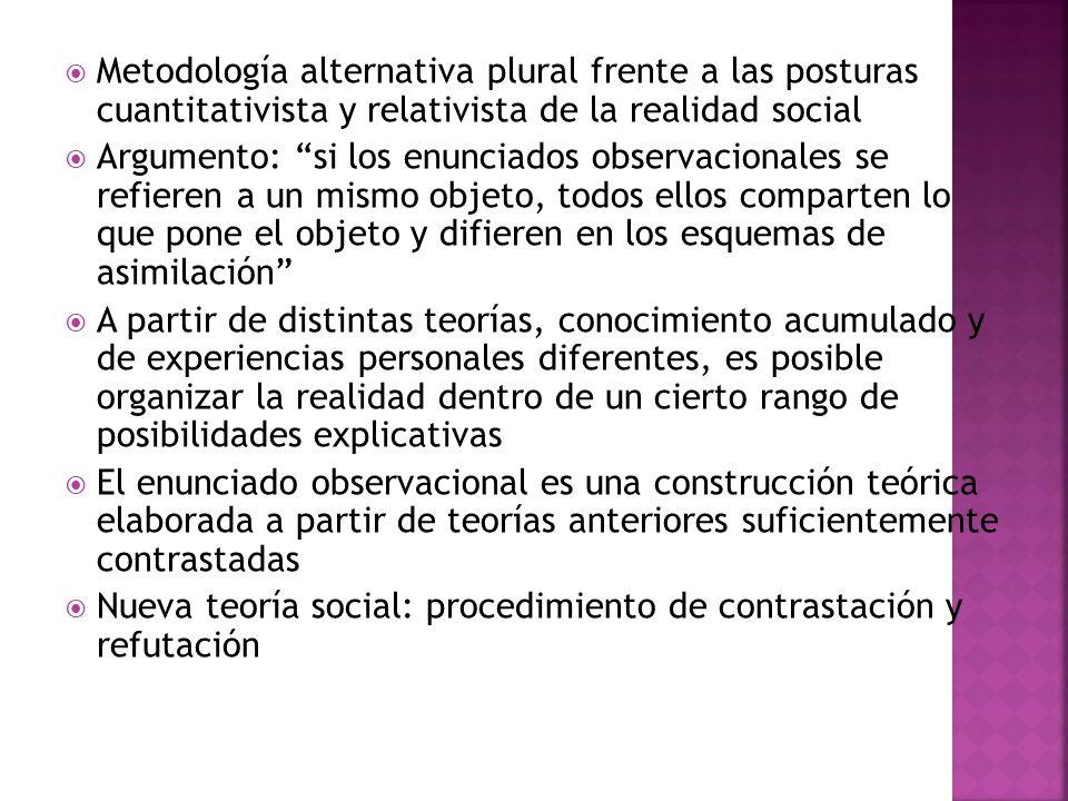 Metodología alternativa plural frente a las posturas cuantitativista y relativista de la realidad social