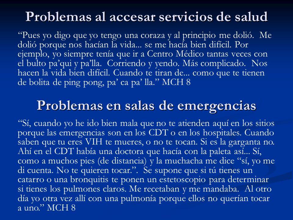 Problemas al accesar servicios de salud