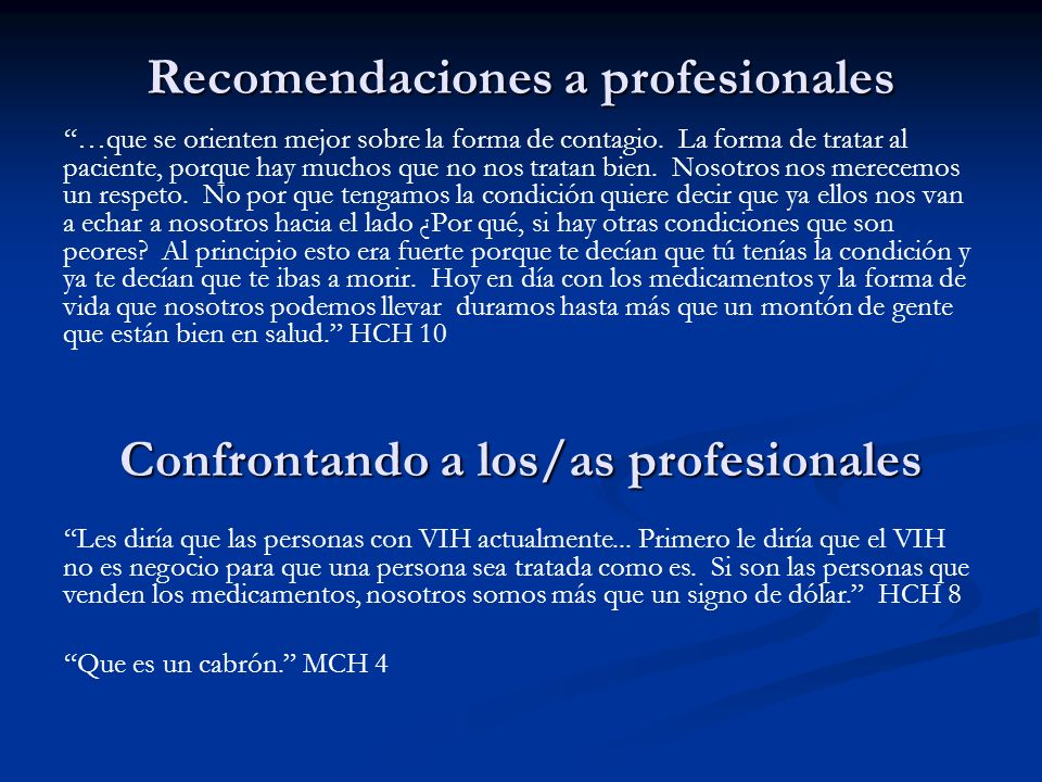 Recomendaciones a profesionales