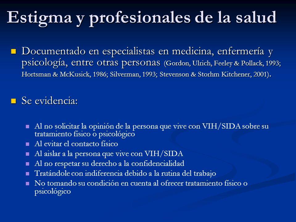 Estigma y profesionales de la salud