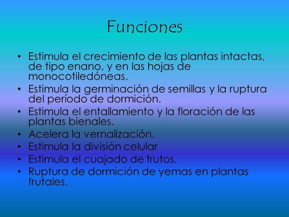 Funciones Estimula el crecimiento de las plantas intactas, de tipo enano, y en las hojas de monocotiledóneas.