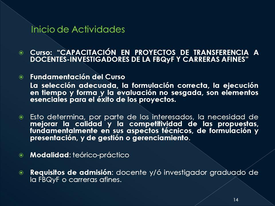 Inicio de Actividades Curso: CAPACITACIÓN EN PROYECTOS DE TRANSFERENCIA A DOCENTES-INVESTIGADORES DE LA FBQyF Y CARRERAS AFINES