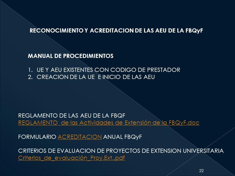 RECONOCIMIENTO Y ACREDITACION DE LAS AEU DE LA FBQyF
