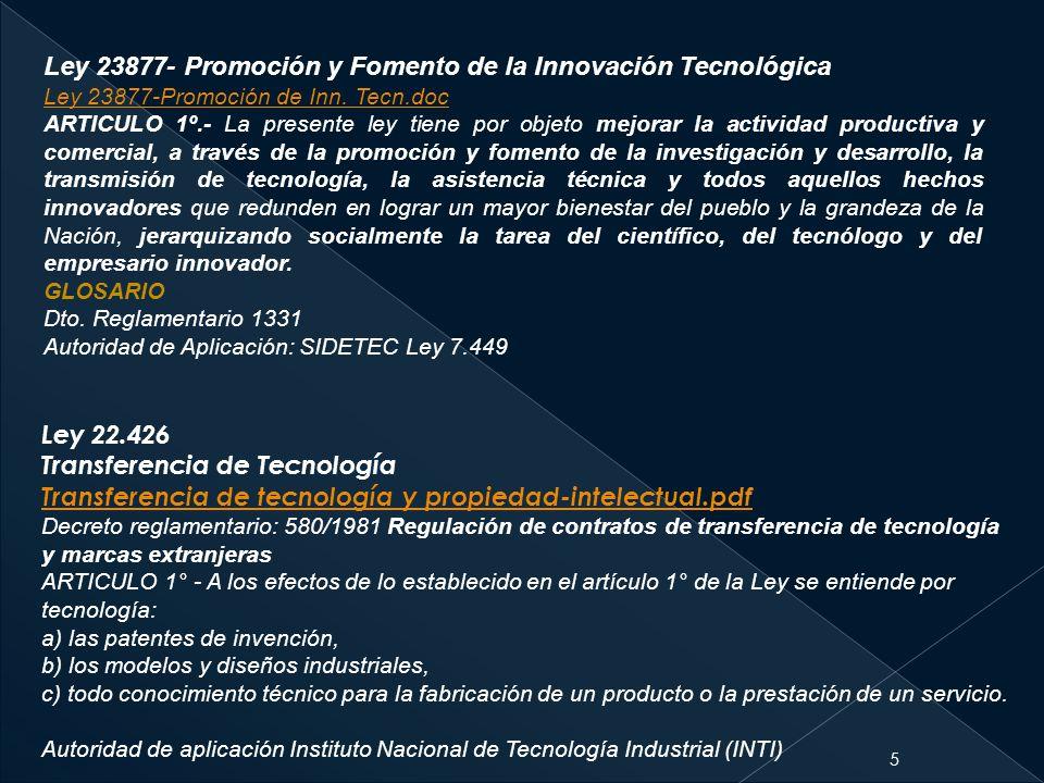 Ley 23877- Promoción y Fomento de la Innovación Tecnológica